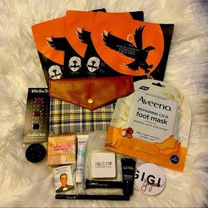 15 Piece Beauty Bundle with Plaid Beauty Bag MAC Kat Von D Aveeno and More NEW
